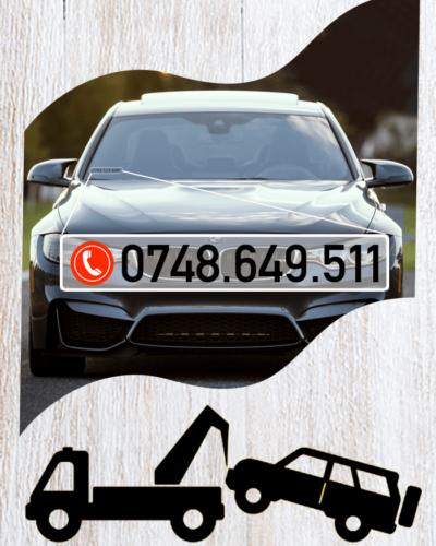 Sticker pentru parbriz cu numarul de telefon personalizat.