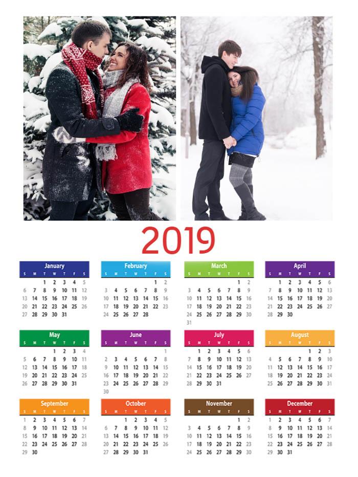 Cu Calendar 2019 Calendar 2019 Magnetic A4 personalizat cu 2 poze. Ideal pentru