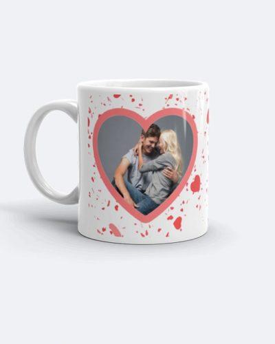 Cană personalizată cu 2 poze in formă de inimă.