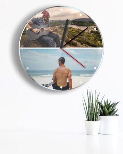 Ceas personalizat cu 2 poze landscape.