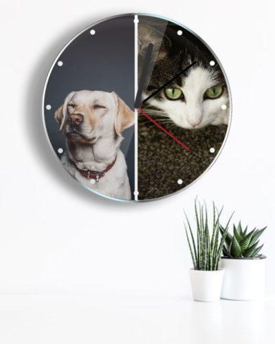 Ceas personalizat cu 2 poze portret.