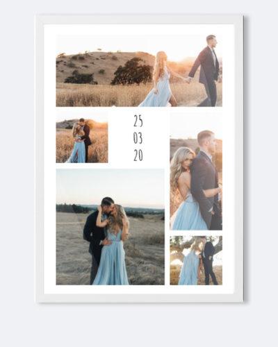 Tablou personalizat cu 5 poze si data. Dimensiune A3