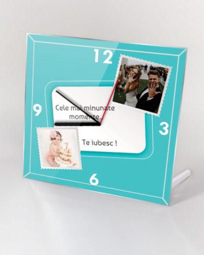 Ceas personalizat de birou cu 2 poze si text model 1