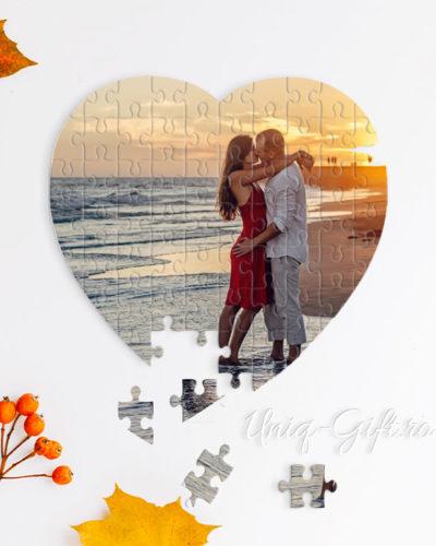 Puzzle personalizat in forma de inima cu poza ta. Model 1