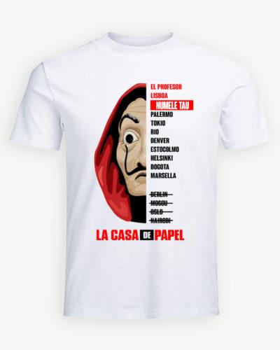 Tricou personalizat La Casa de Papel cu numele tău.