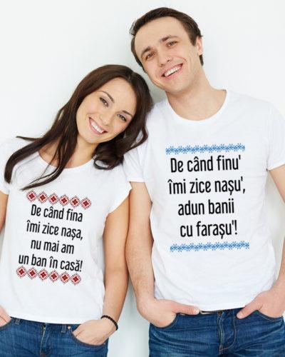 Tricouri personalizate cadou pentru nasii de cununie.