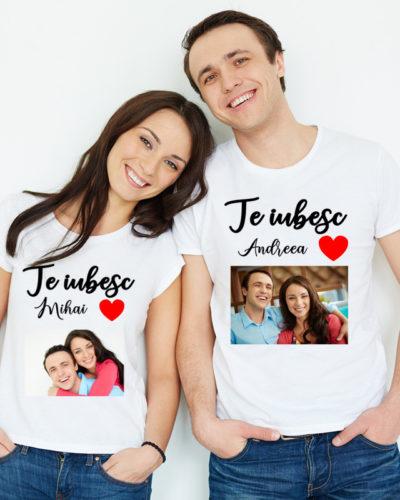 Tricouri personalizate pentru cupluri Te iubesc cu poze.