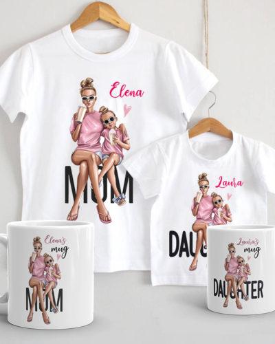 Set de tricouri si căni Mama si Fiica, cadou perfect