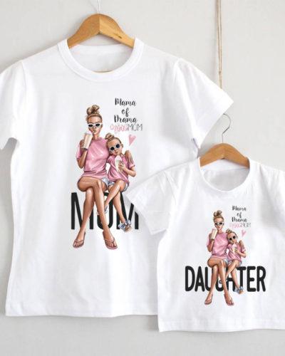 Tricouri personalizate mamă fiică model Mama of Drama
