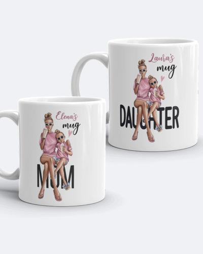 Set două căni personalizate Mama si Fiica cu numele dorit