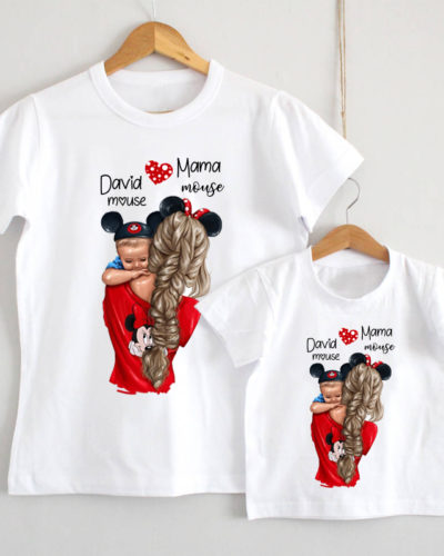 Set tricouri Mama Fiul personalizate model mickey
