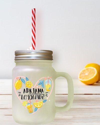 Cană limonadă personalizată cu numele dorit. LEMONADE