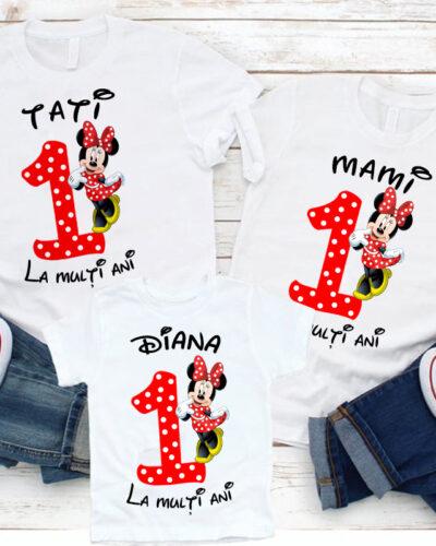 3 Tricouri Mama, Tata si Fiica model Minnie Mouse