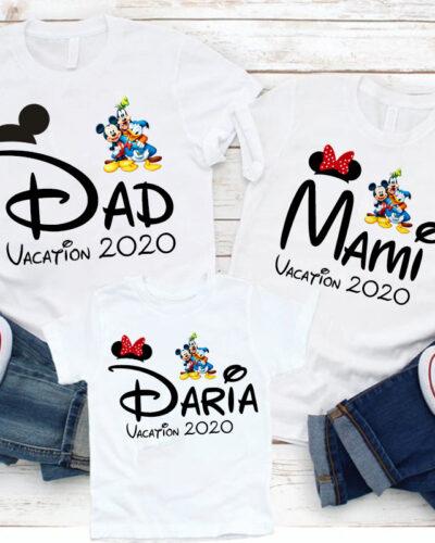3 Tricouri Mama, Tata si Fiica model Disney Vacanta