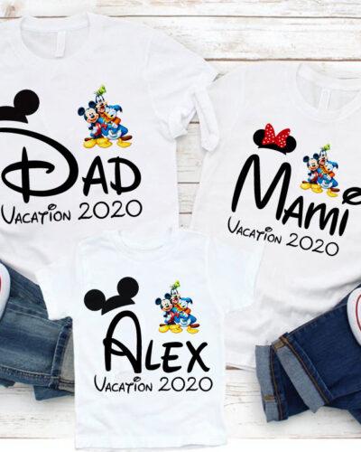 3 Tricouri Mama, Tata si Fiul model Disney Vacanta