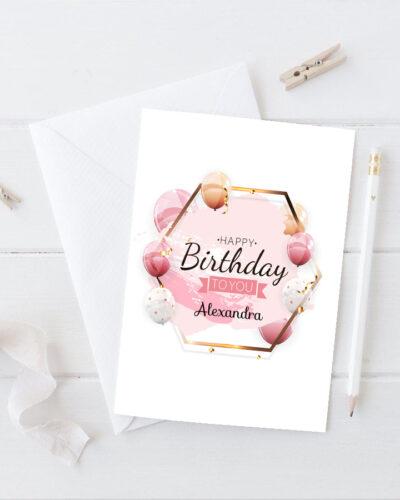 Felicitare personalizata A5 tip plic Happy Birthday