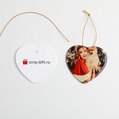 Glob personalizat ceramic in forma de inima ornament ceramic personalizat cu poza cadou brad craciun globuri personalizate inima 2020 3