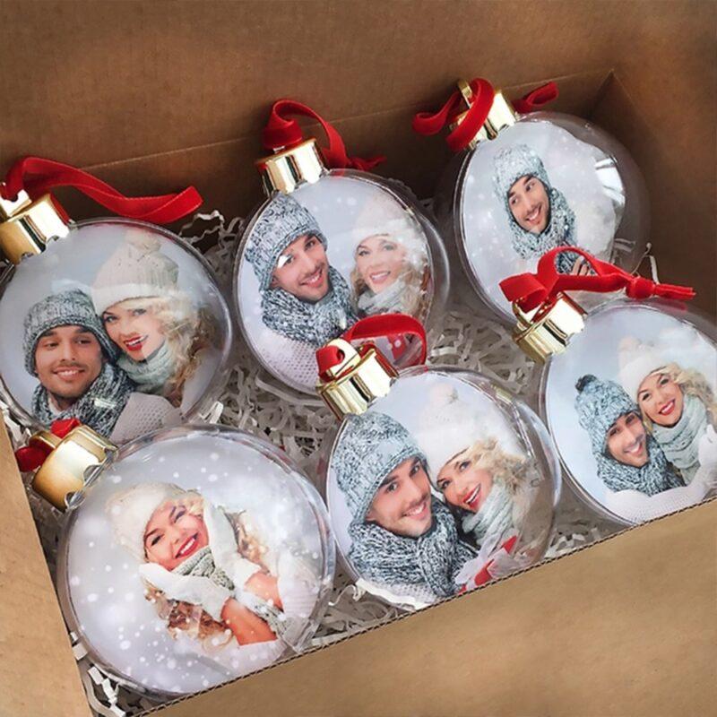 Globuri personalizate cu 2 poze glob de plastic pentru brad ornament brad personalizat glob personalizat rotund cu poze 4-min