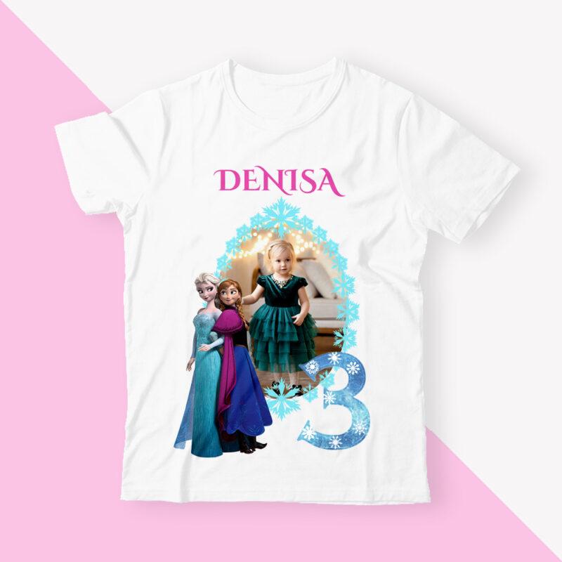 Set 3 tricouri Elsa si Ana familie cadou aniversare fetita elsa si ana tricouri personalizate cu elsa si ana familie tricou elsa cu poza mea tricou copii elsa si ana cu poza 1