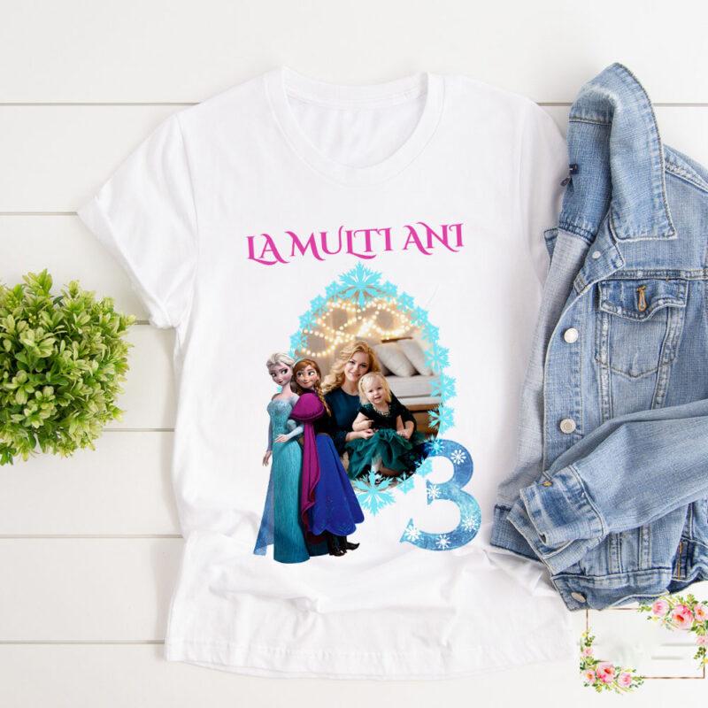 Set 3 tricouri Elsa si Ana familie cadou aniversare fetita elsa si ana tricouri personalizate cu elsa si ana familie tricou elsa cu poza mea tricou copii elsa si ana cu poza 3